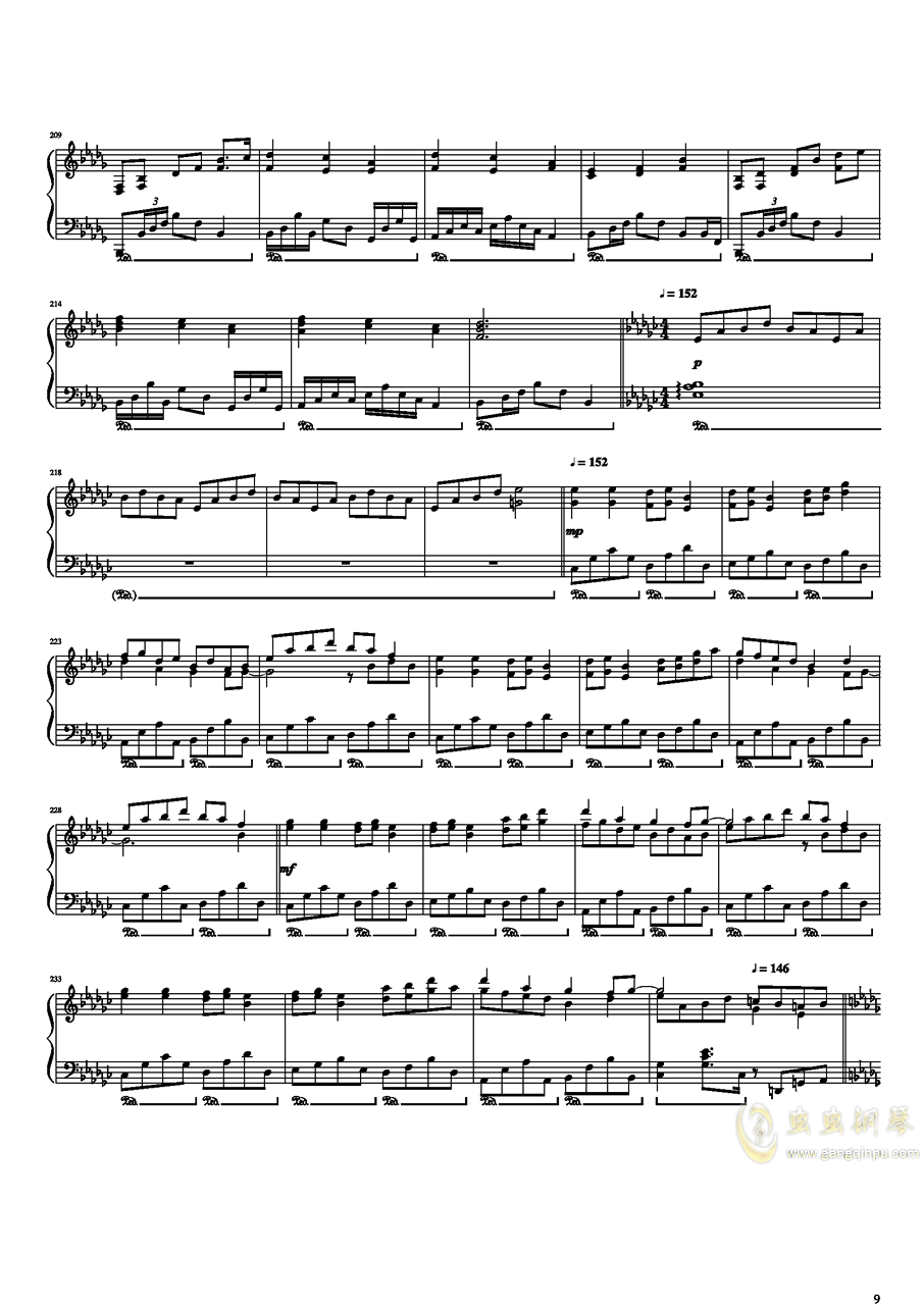 东方开场曲串烧钢琴谱 第9页