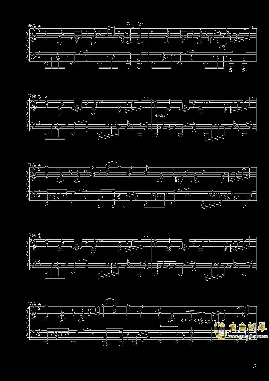 【东方project/� 方project】地��殛�!ぱる☆りん☆くう钢琴谱 第5页