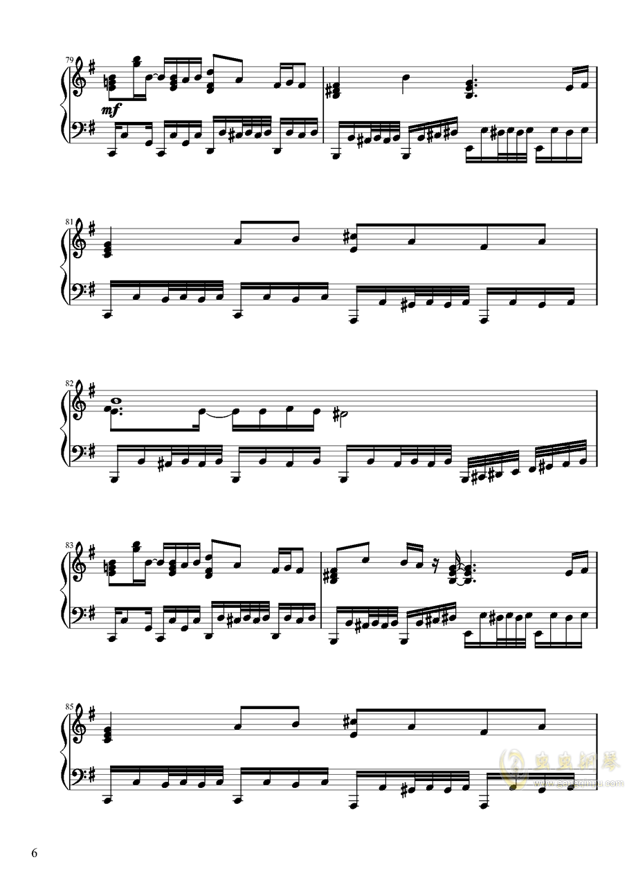 【东方project/� 方project】地��殛�!ぱる☆りん☆くう钢琴谱 第6页