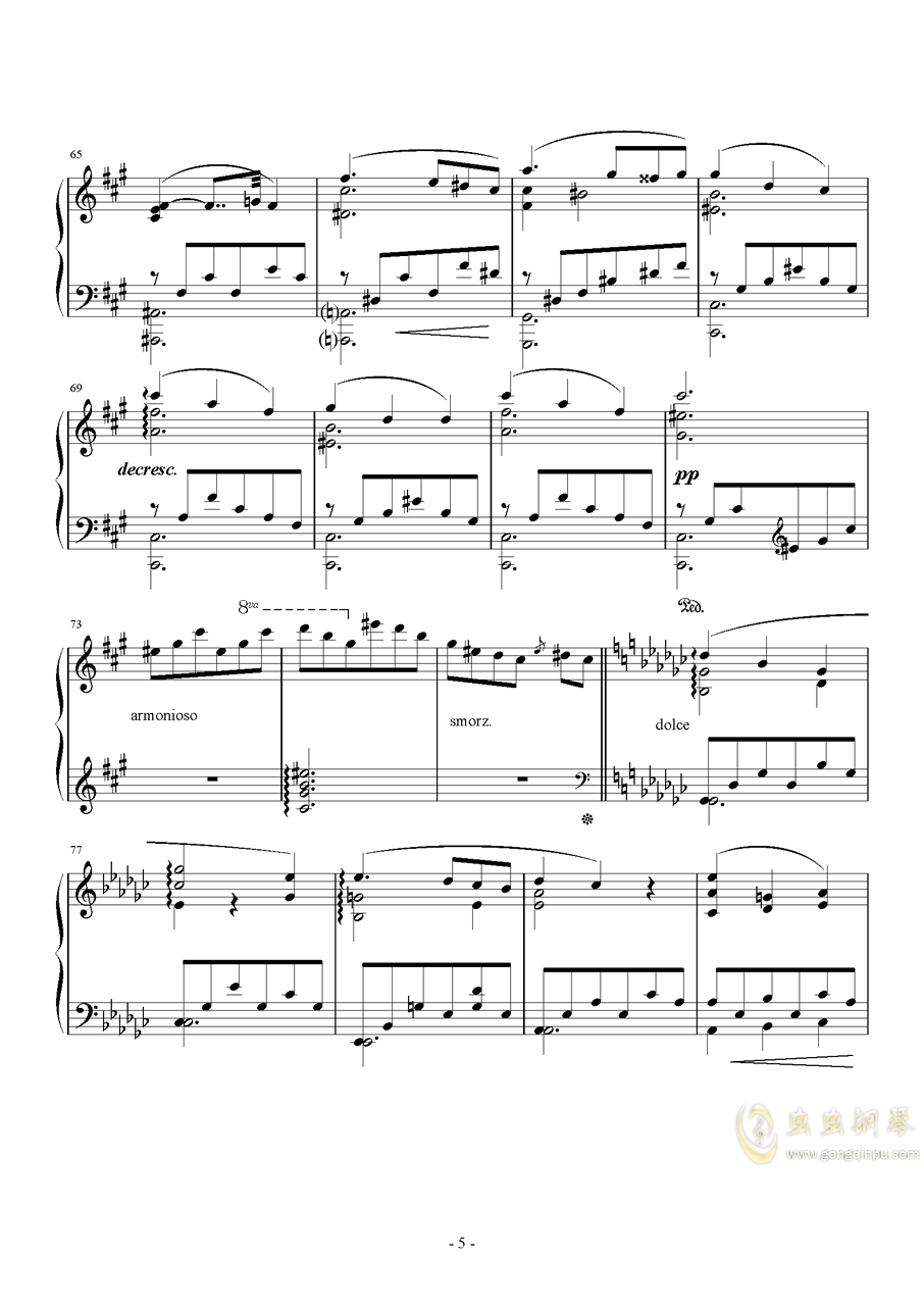 车尔尼   降G大调练习曲  Op.756  No.5钢琴谱 第5页