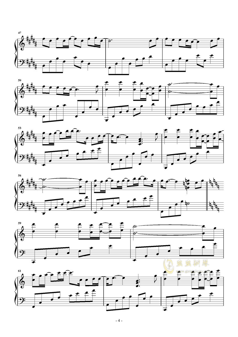岁月钢琴谱 第4页