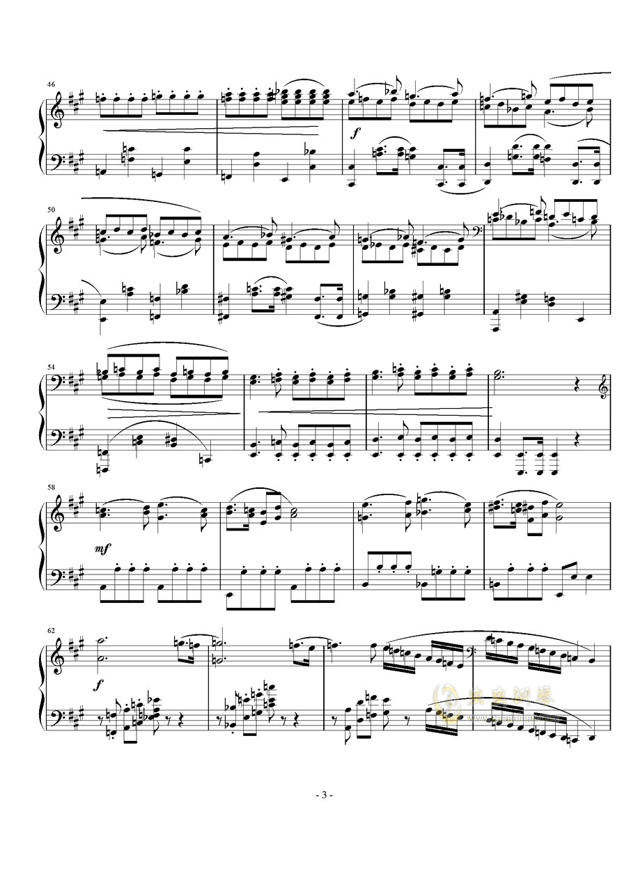 A大调奏鸣曲第一乐章钢琴谱 第3页