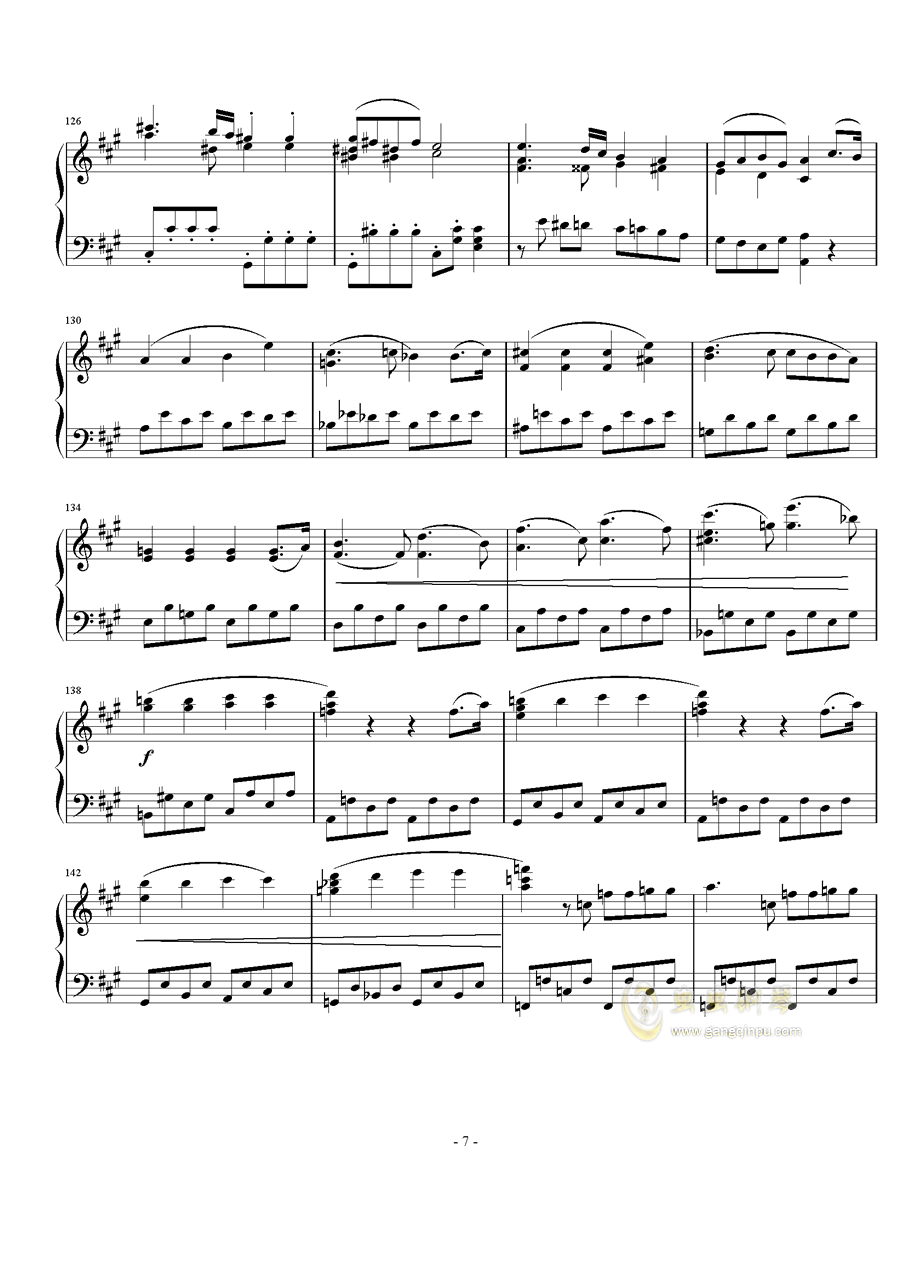 A大调奏鸣曲第一乐章钢琴谱 第7页