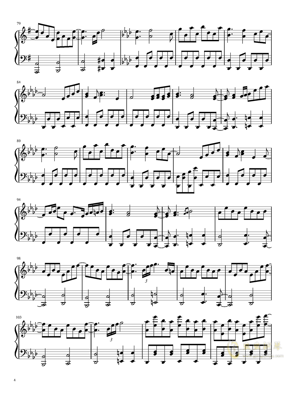 死霊の夜桜钢琴谱 第4页
