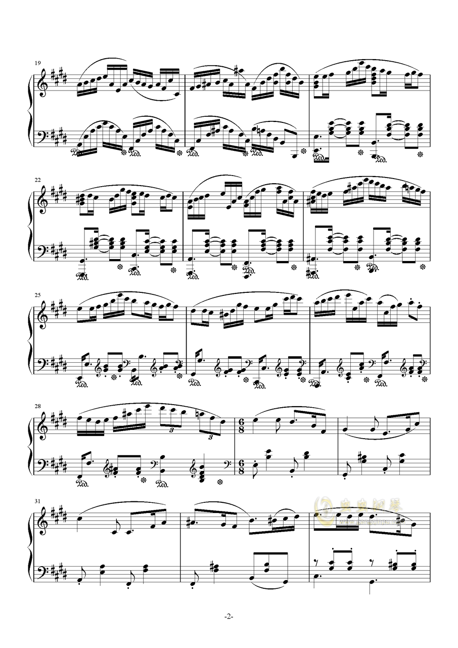 H25-E大调主题变奏曲钢琴谱 第2页