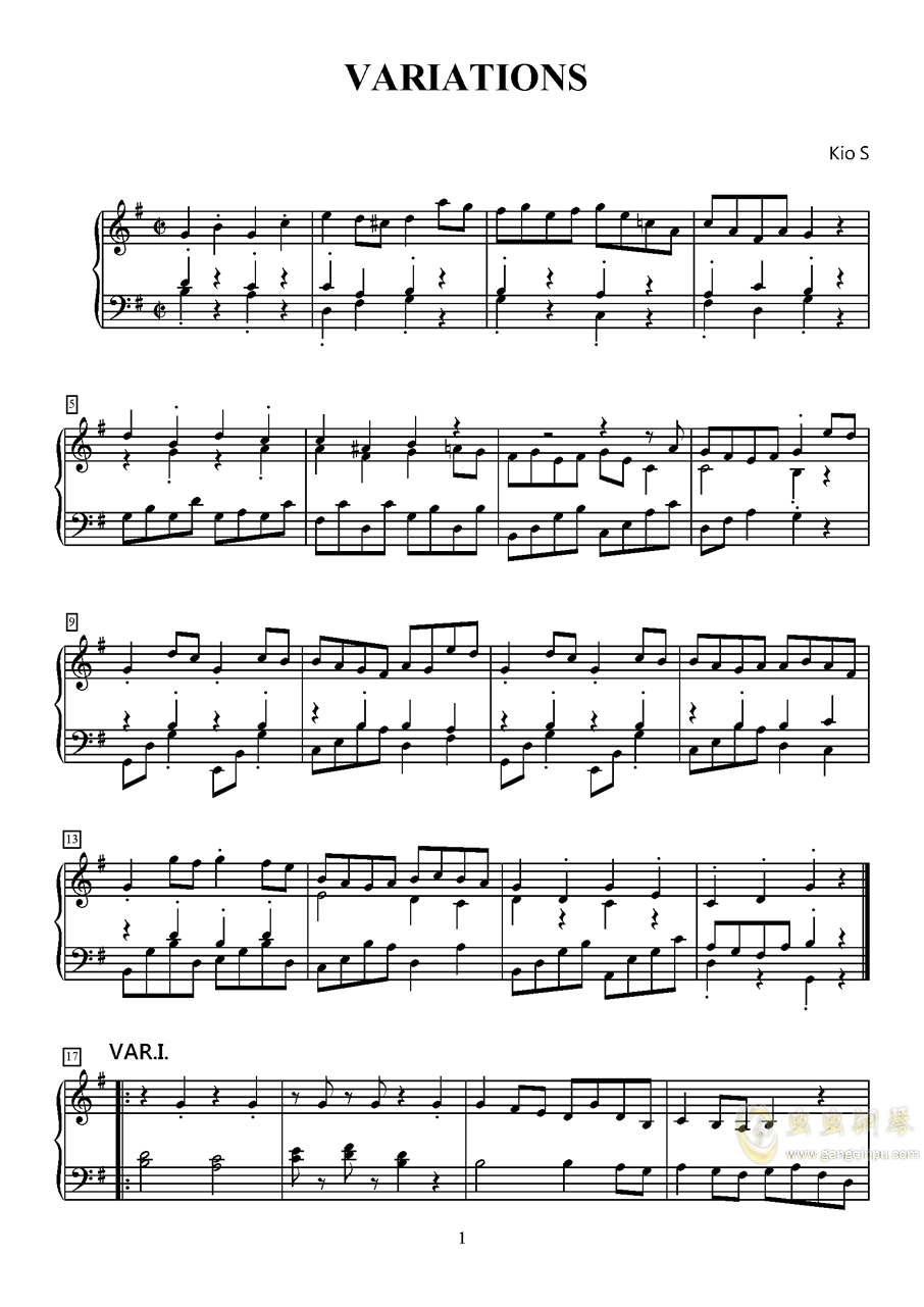 小快板与变奏钢琴谱 第1页