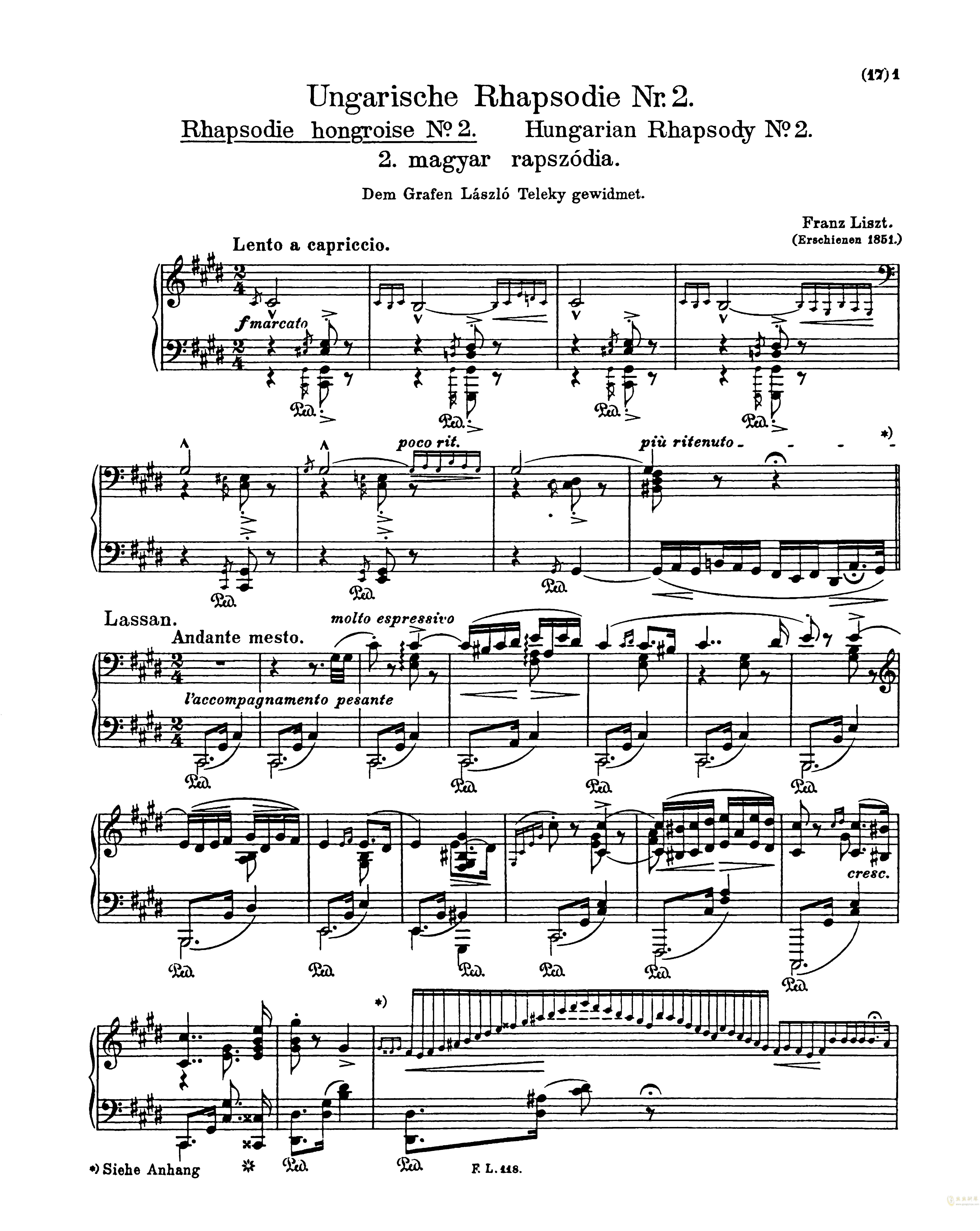 匈牙利狂想曲第二号钢琴谱 第1页