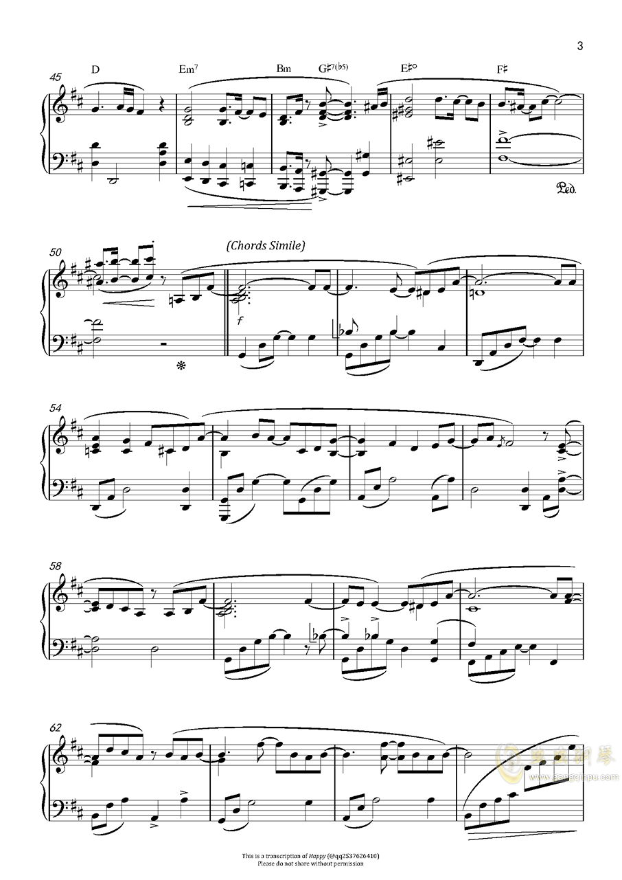 赤い�s束钢琴谱 第3页