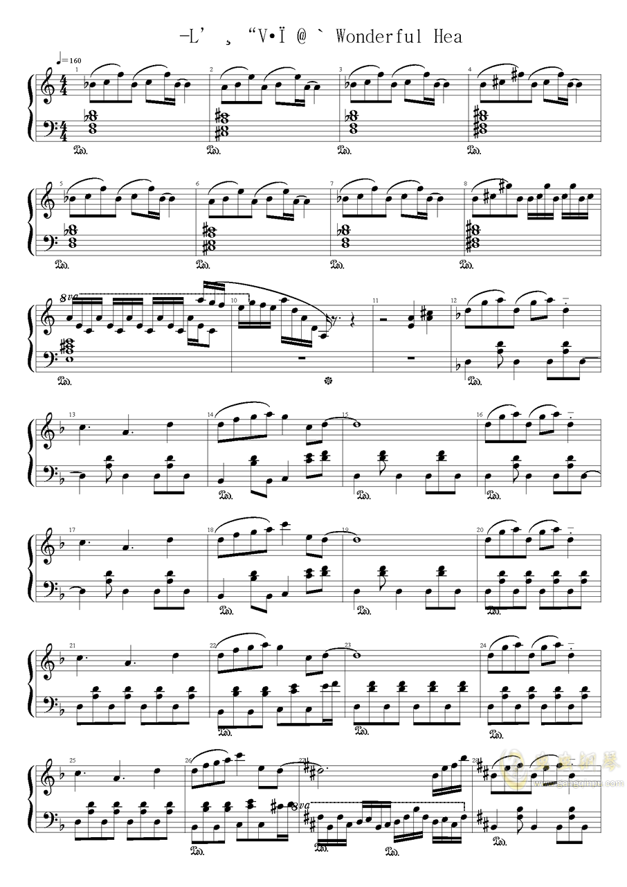 Wonderful Heaven钢琴谱 第1页