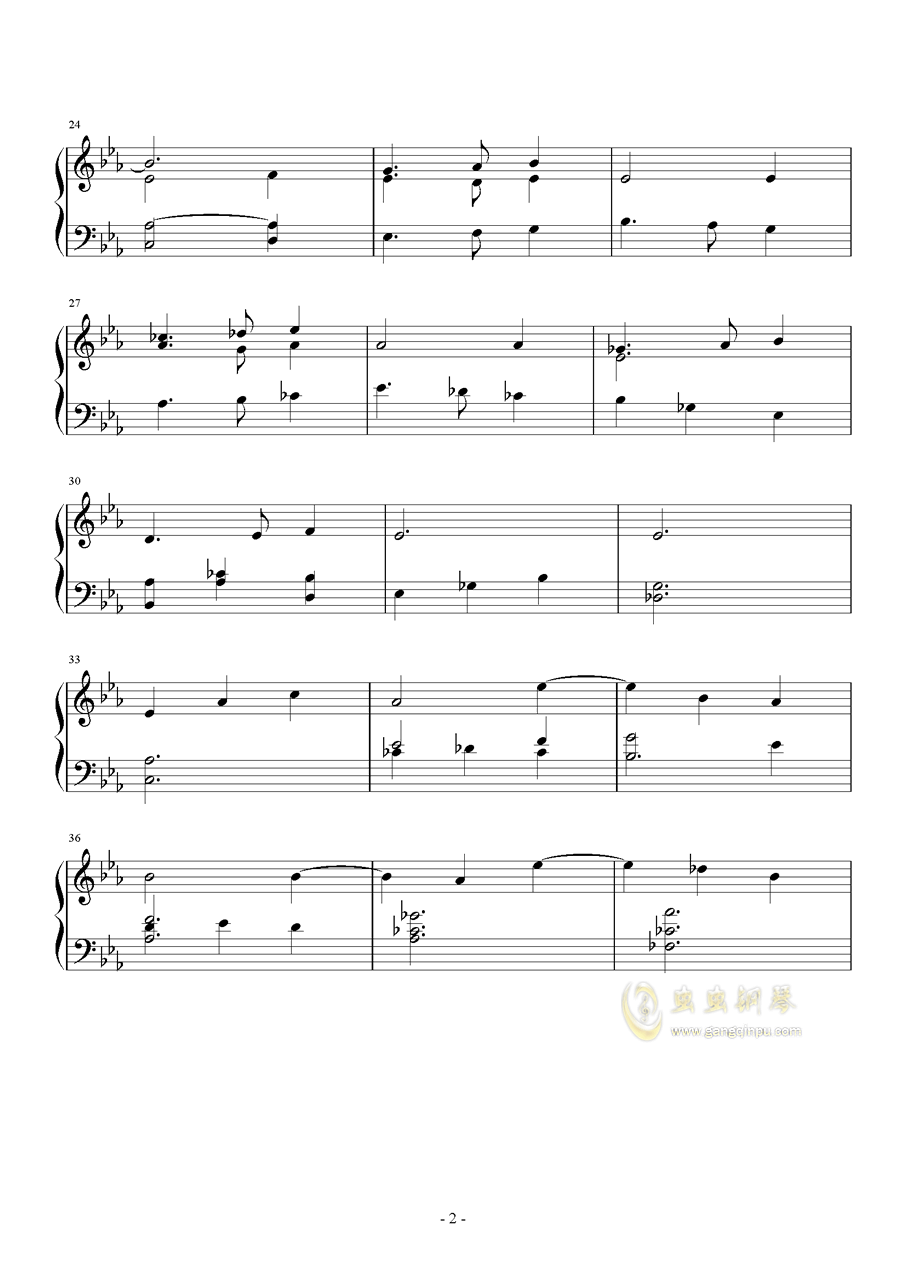 小小摇篮曲钢琴谱 第2页