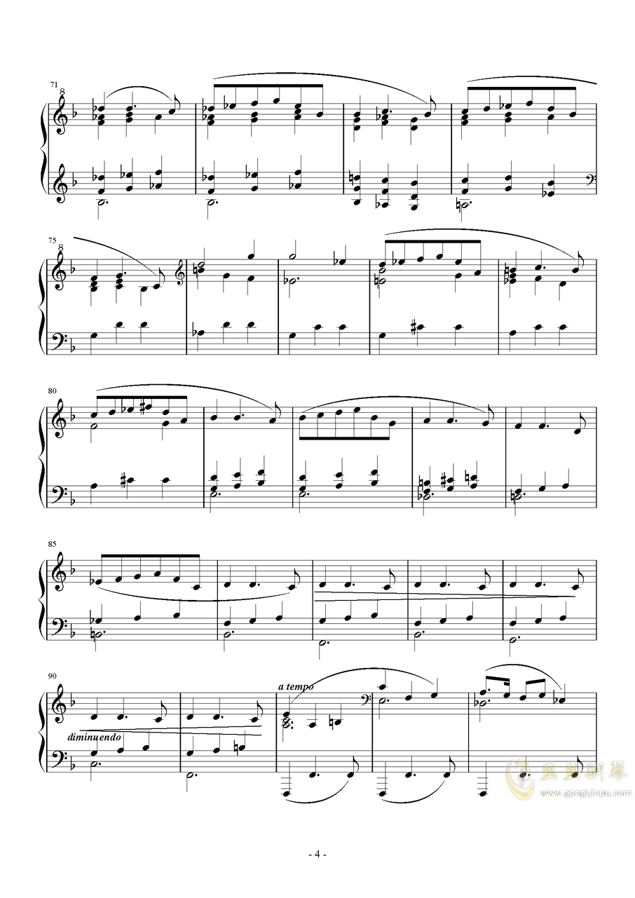 A大调奏鸣曲-第二乐章钢琴谱 第4页