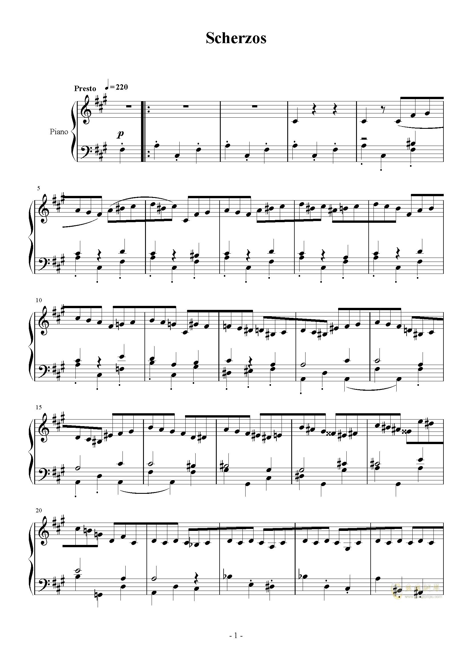 A大调奏鸣曲-第三乐章钢琴谱 第1页