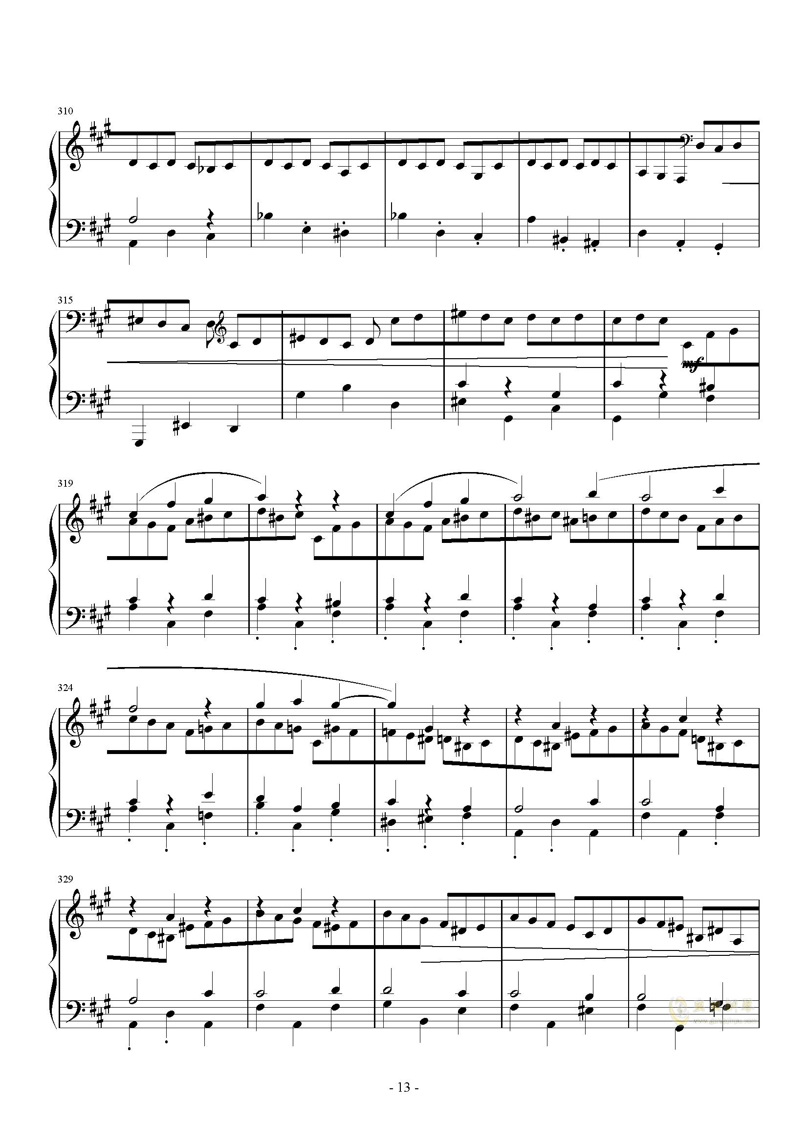 A大调奏鸣曲-第三乐章钢琴谱 第13页