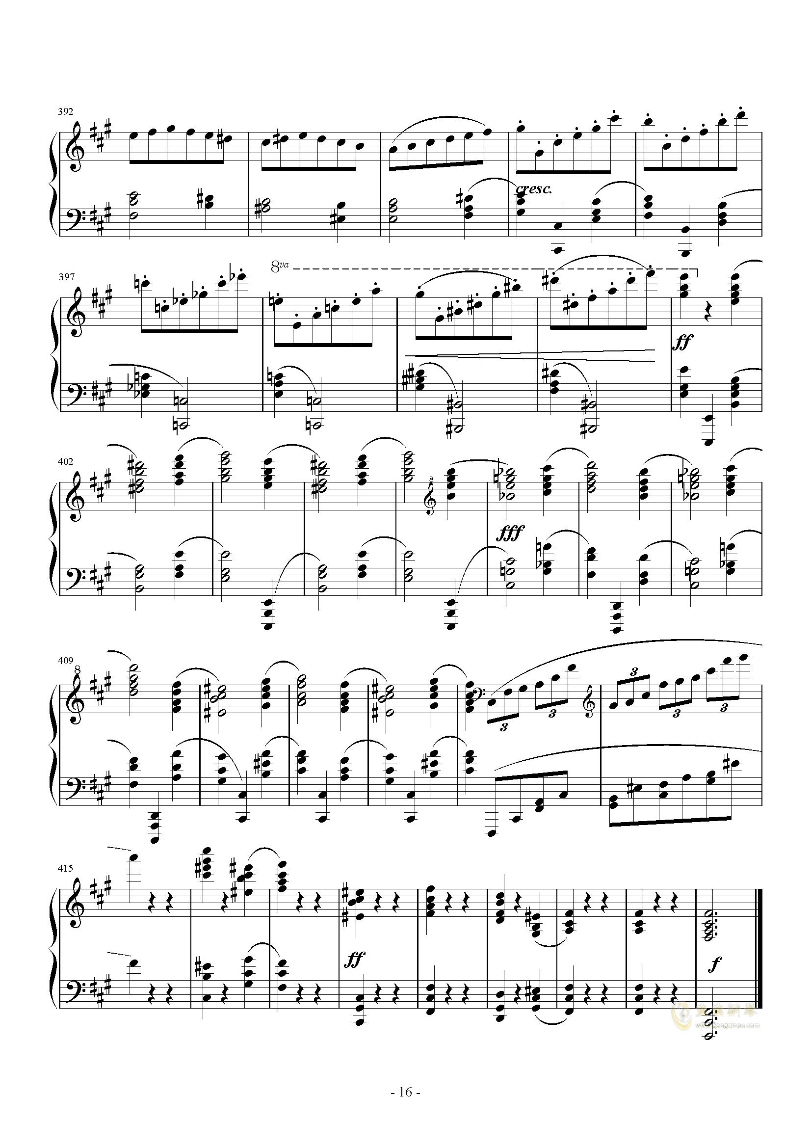 A大调奏鸣曲-第三乐章钢琴谱 第16页