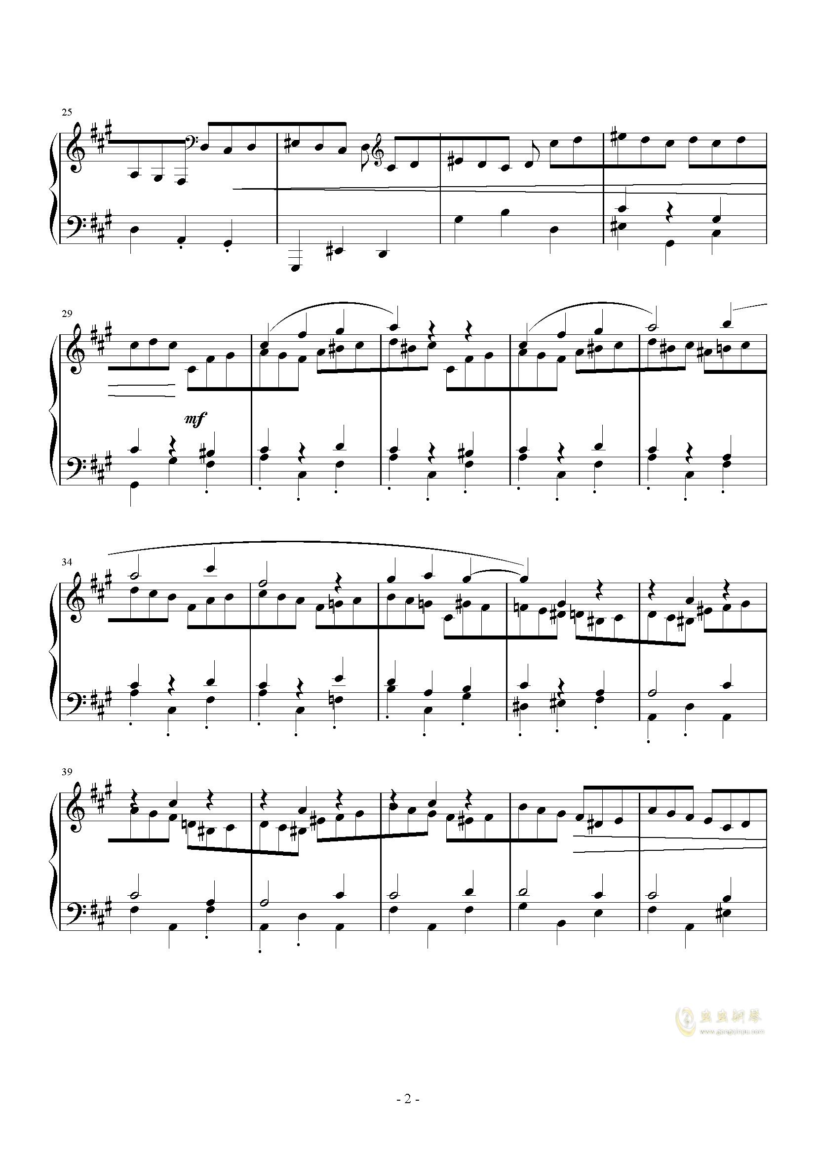 A大调奏鸣曲-第三乐章钢琴谱 第2页