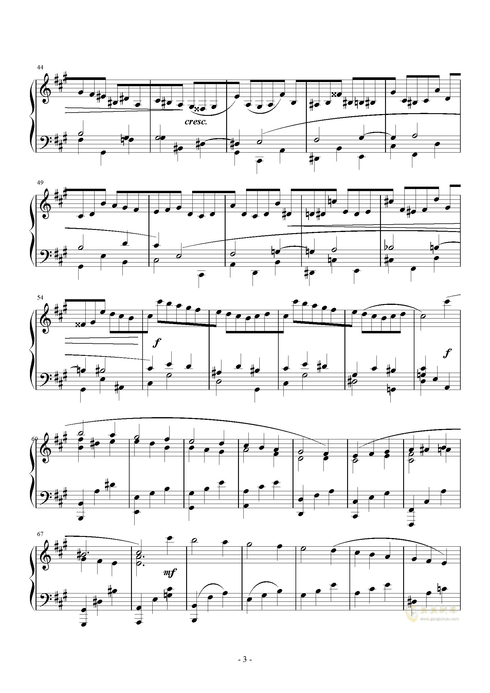 A大调奏鸣曲-第三乐章钢琴谱 第3页