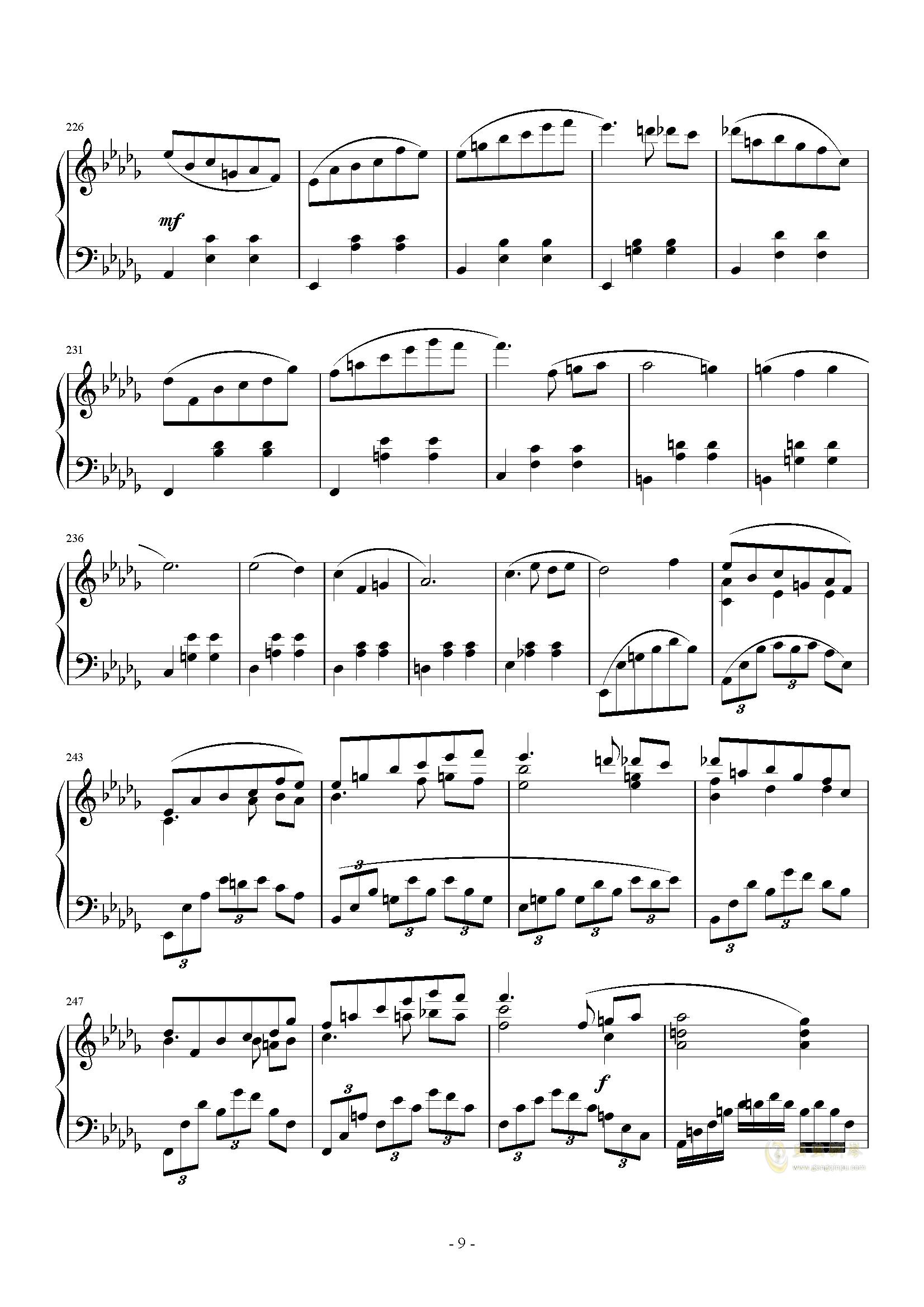 A大调奏鸣曲-第三乐章钢琴谱 第9页
