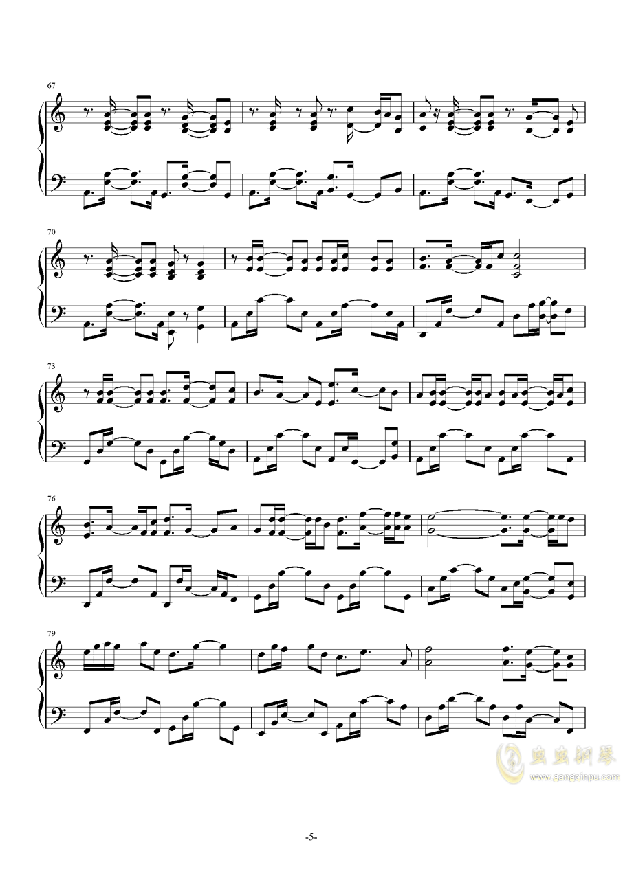 November Sky钢琴谱 第5页