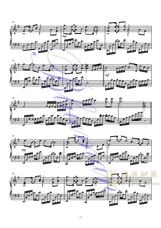 谢谢你钢琴谱 第2页