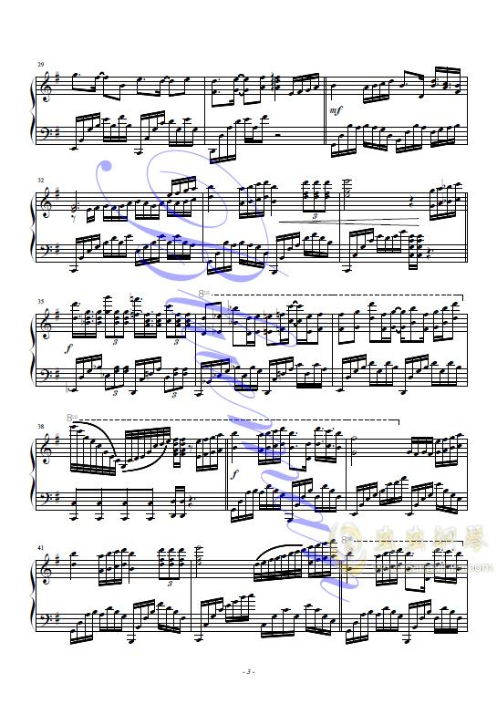 谢谢你钢琴谱 第3页