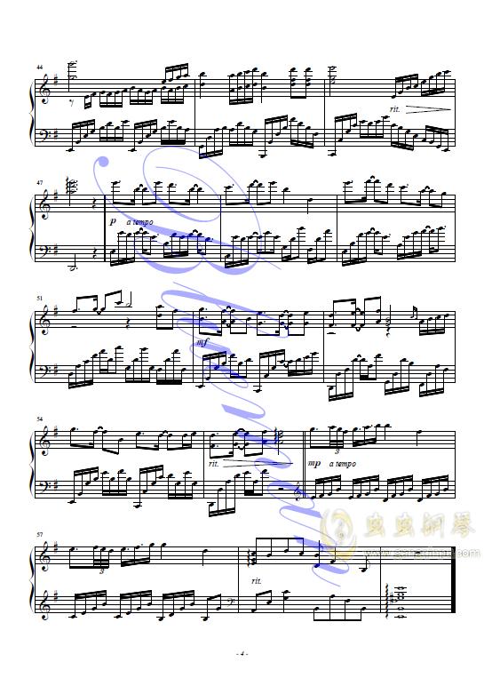 谢谢你钢琴谱 第4页