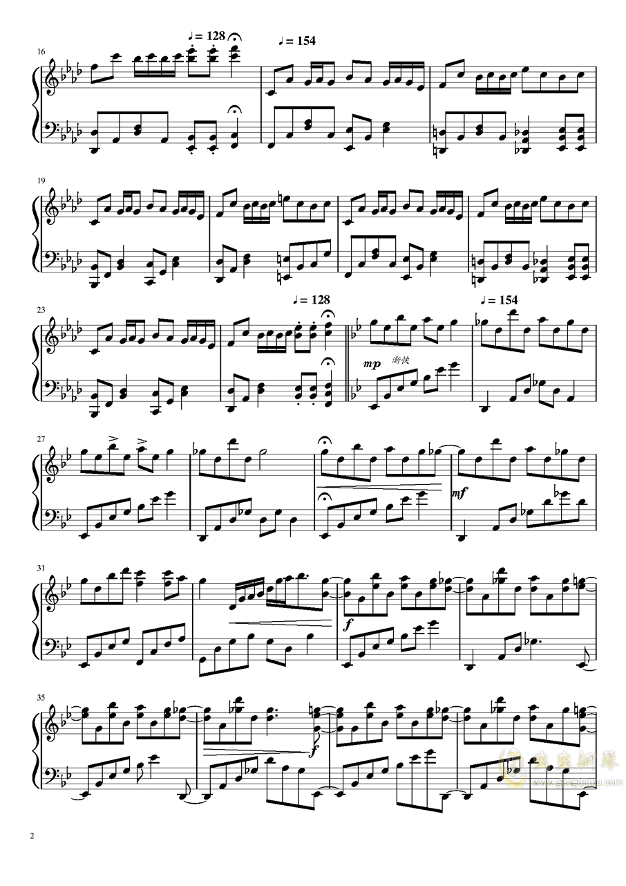 片翼の天使 钢琴谱 第2页