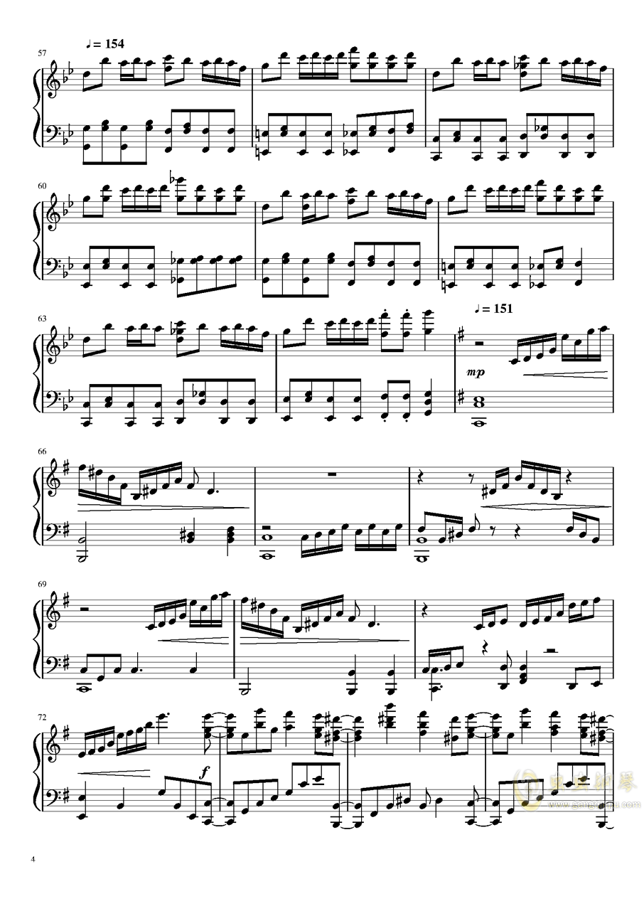 片翼の天使 钢琴谱 第4页