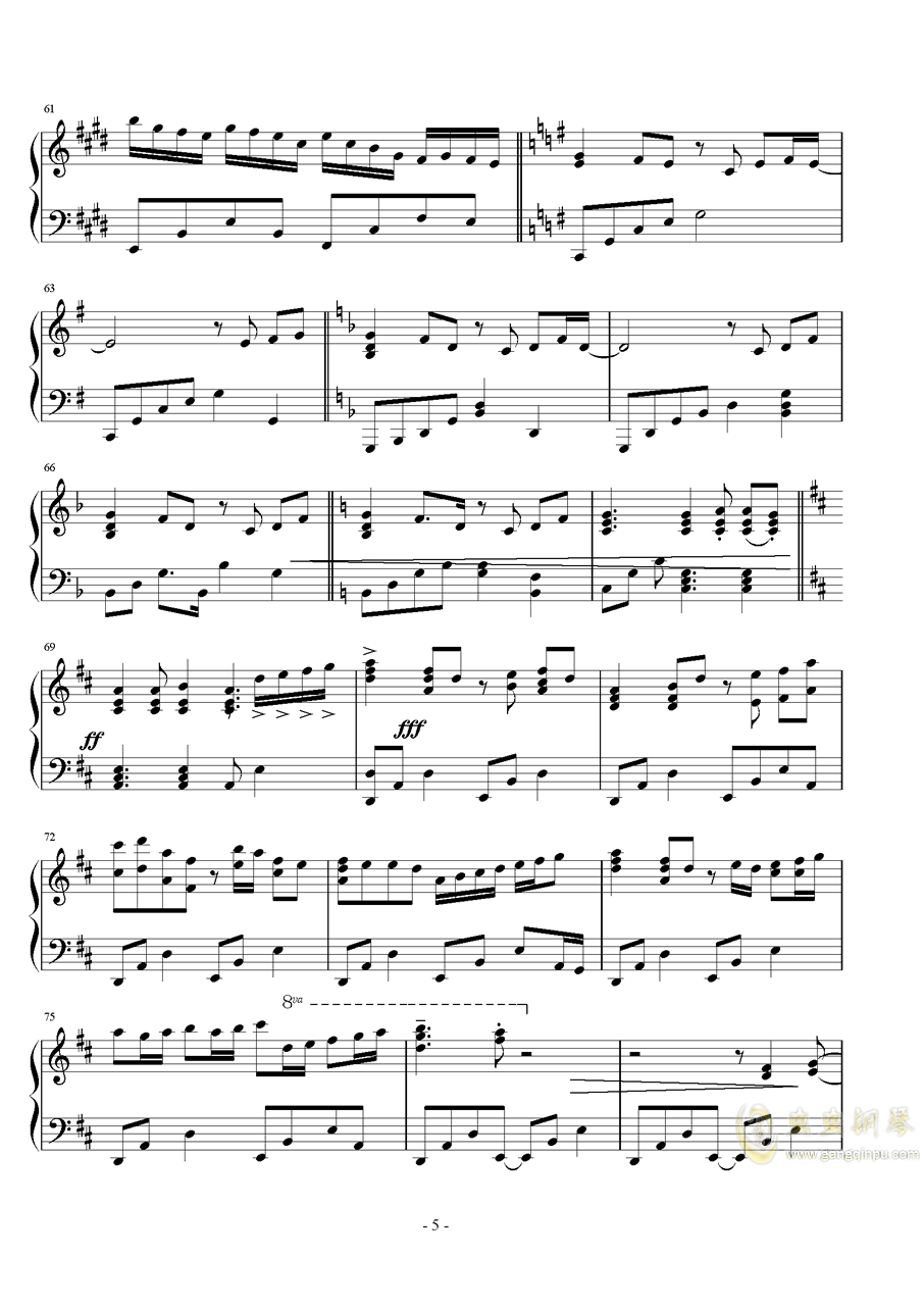 ��世界-妖精�M行曲钢琴谱 第5页