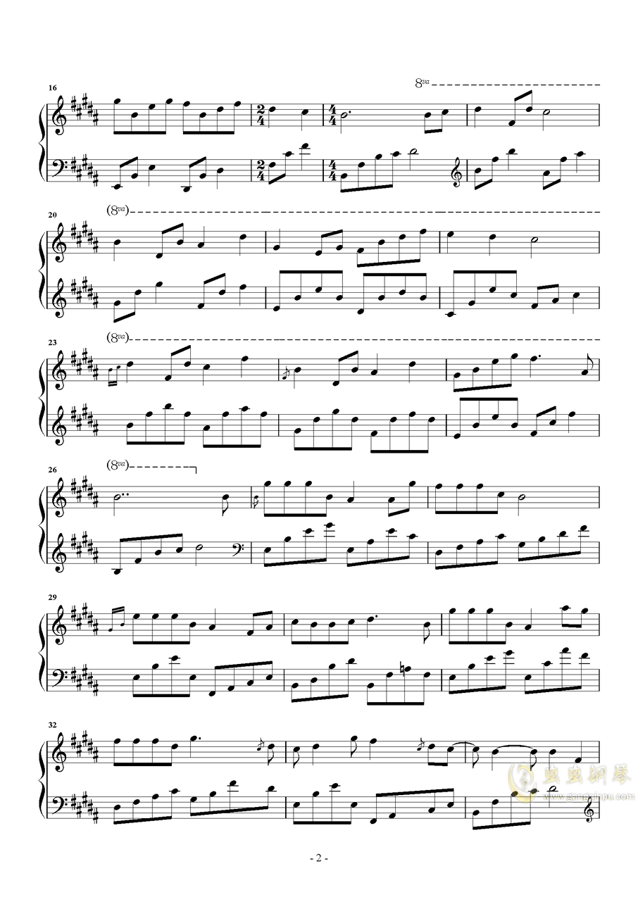 瞬间的永恒钢琴谱 第2页