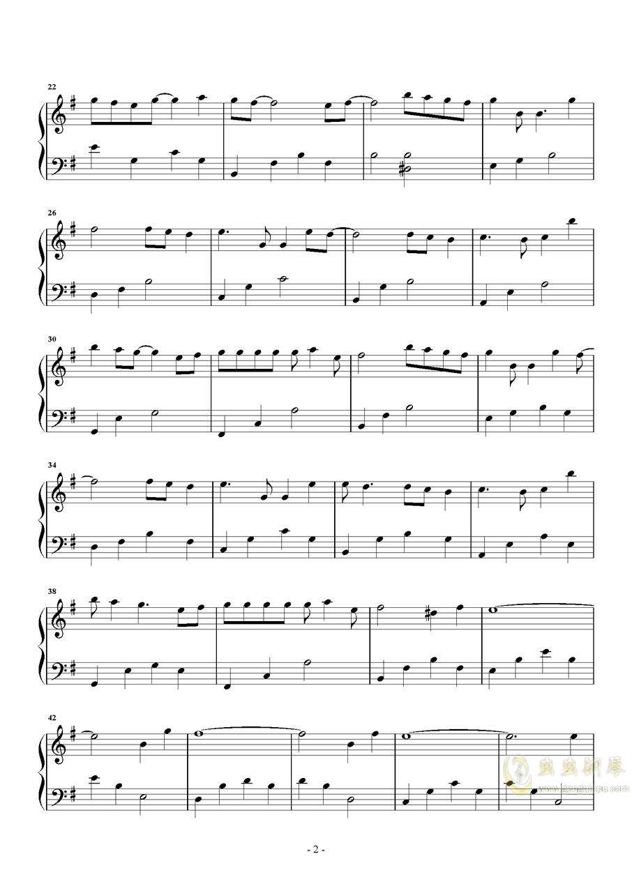 红玫瑰钢琴谱 第2页