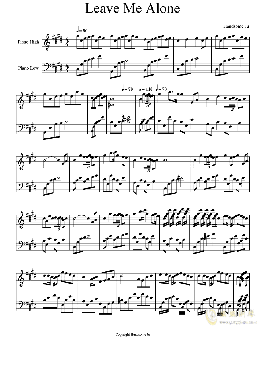 Leave Me Alone钢琴谱 第1页
