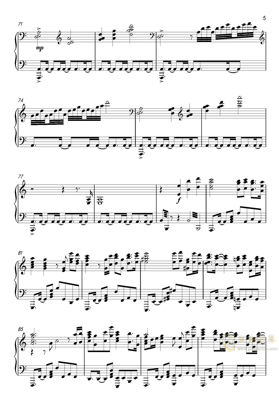 高达UC-Unicorn(改进版)钢琴谱 第5页