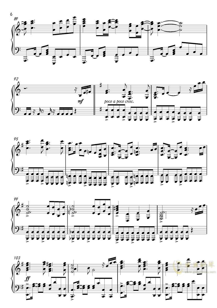 高达UC-Unicorn(改进版)钢琴谱 第6页