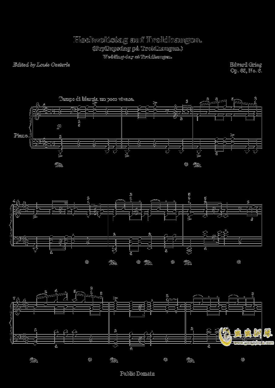 在托罗尔哈根的婚礼钢琴谱 第1页