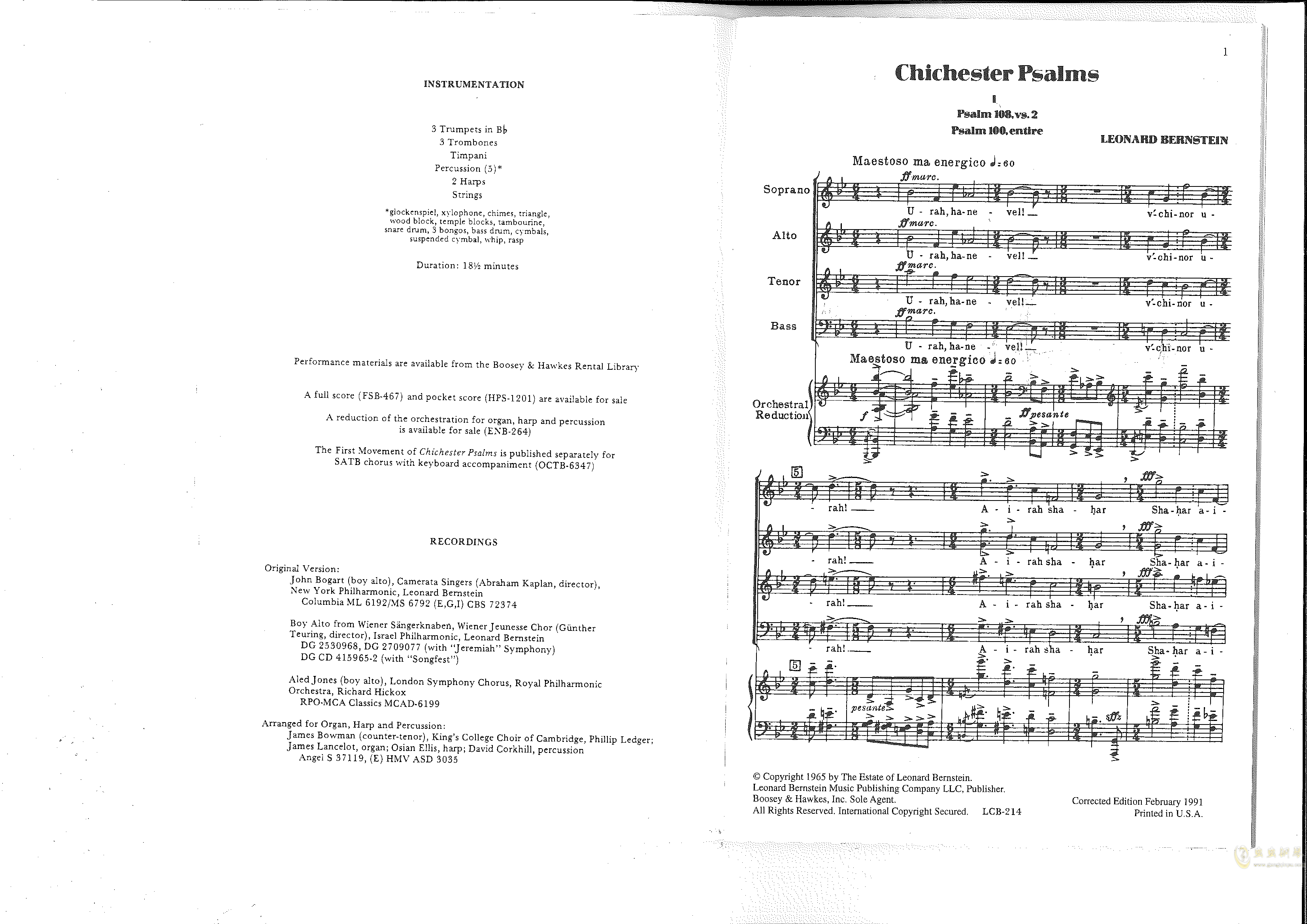 Chichester Psalms钢琴谱 第4页