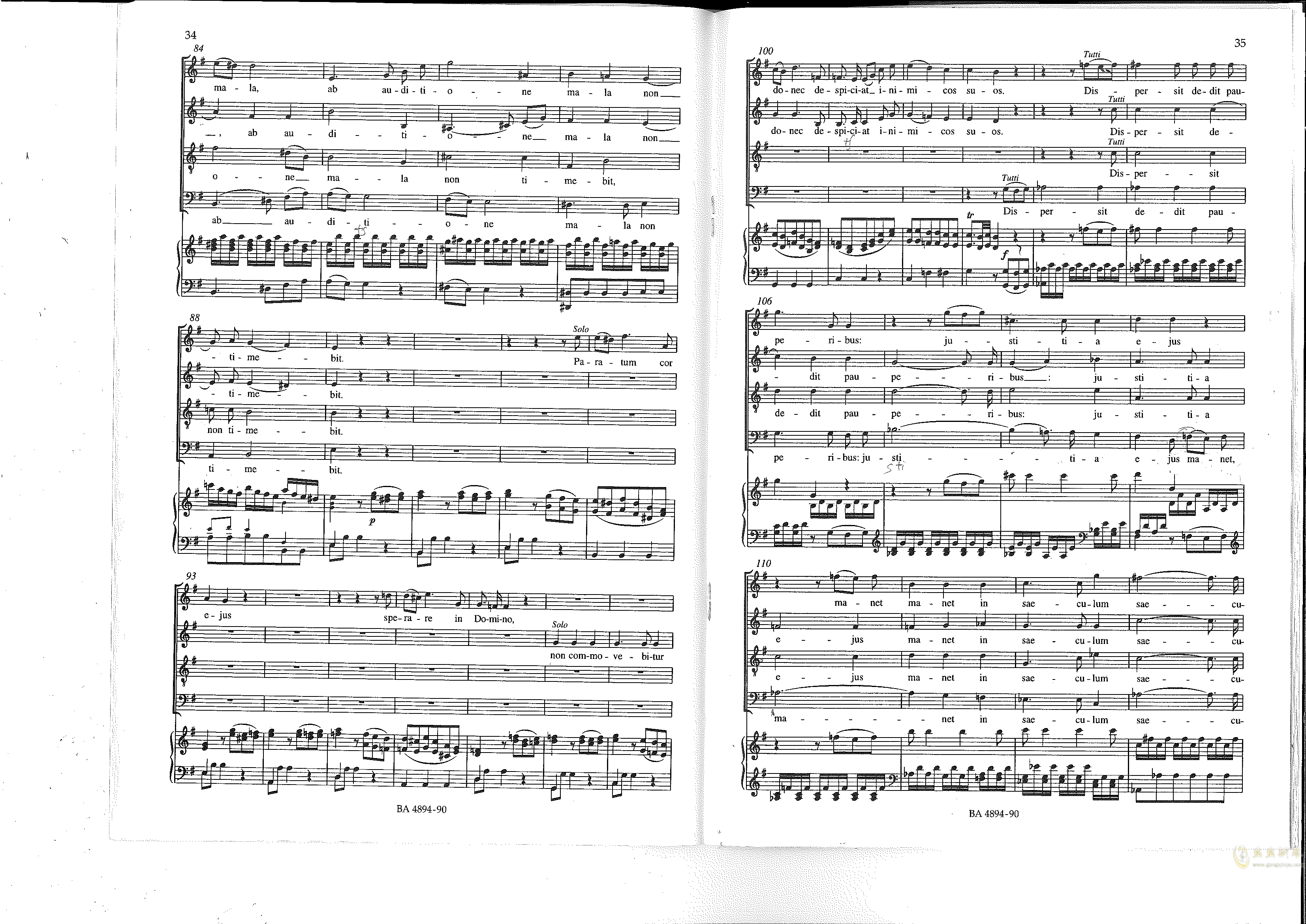 Vesperae solennes de confessore K. 339钢琴谱 第18页