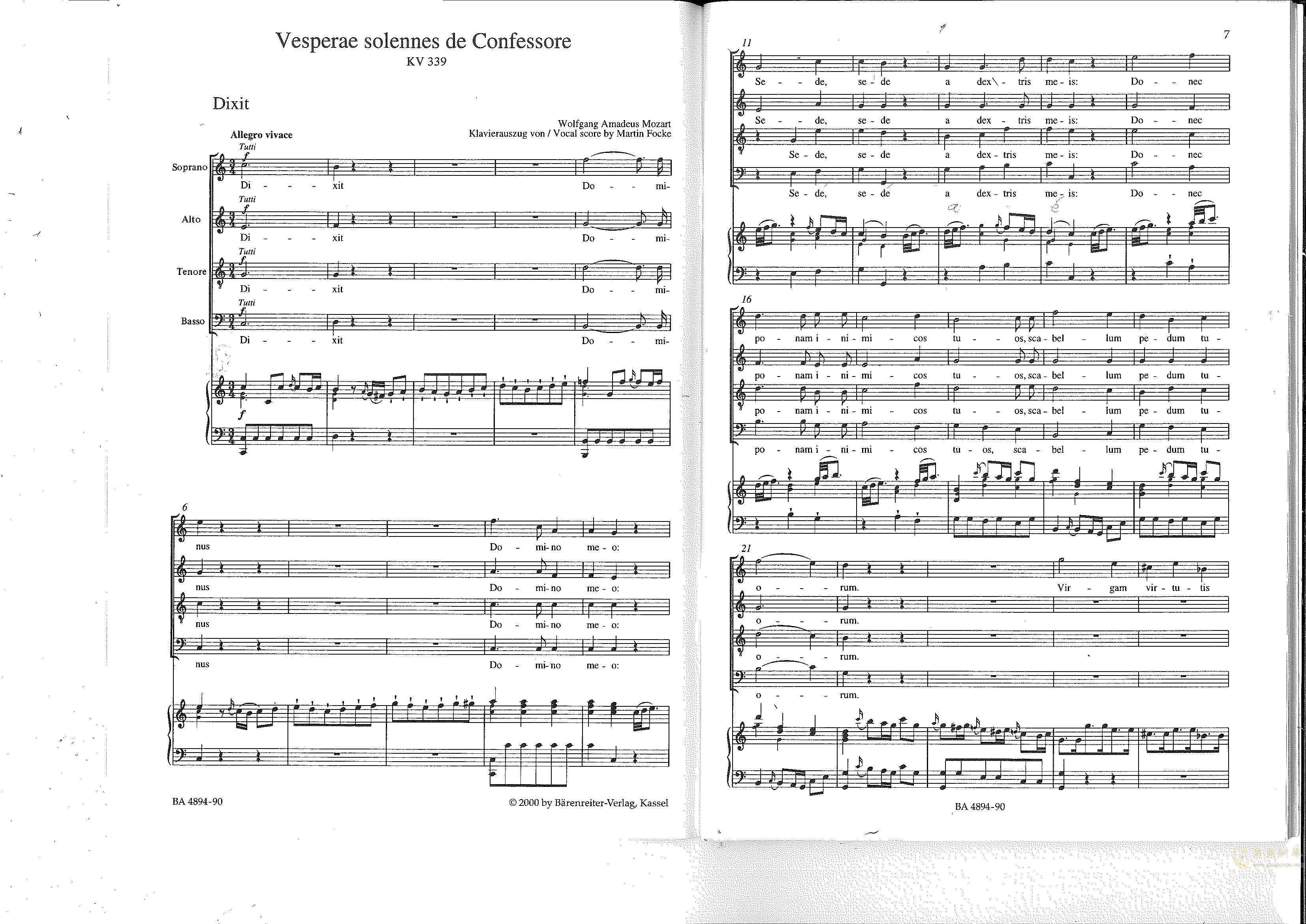 Vesperae solennes de confessore K. 339钢琴谱 第4页