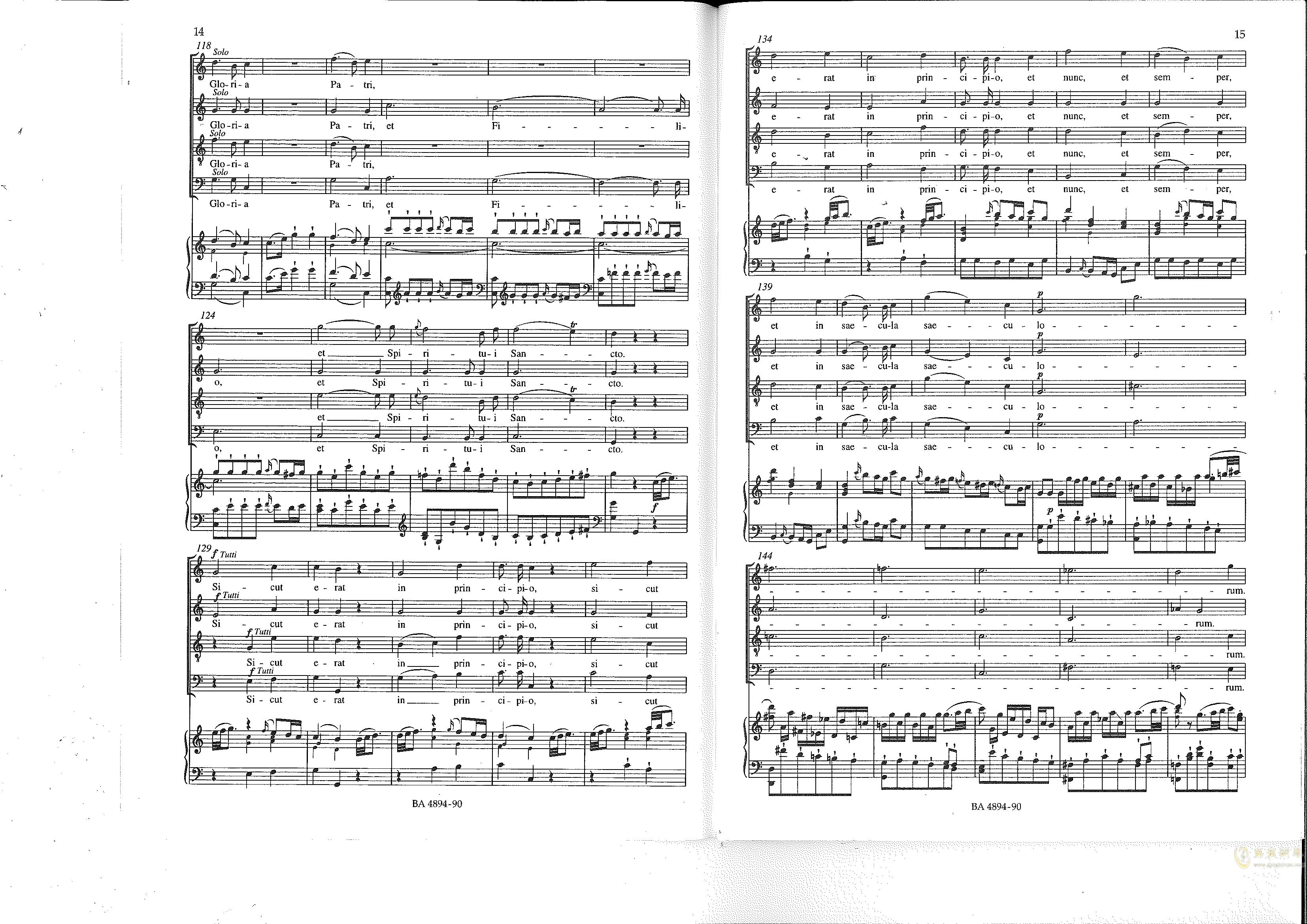 Vesperae solennes de confessore K. 339钢琴谱 第8页