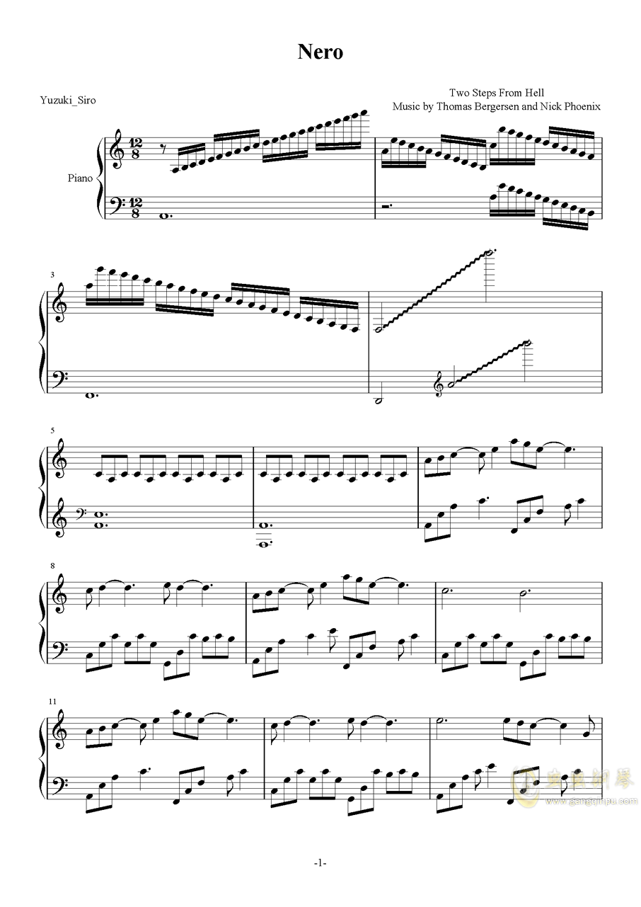 TwoStepsFromHell-Nero钢琴谱 第1页