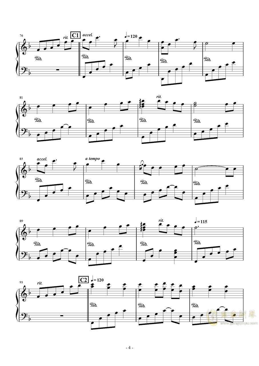 Always with me钢琴谱 第4页