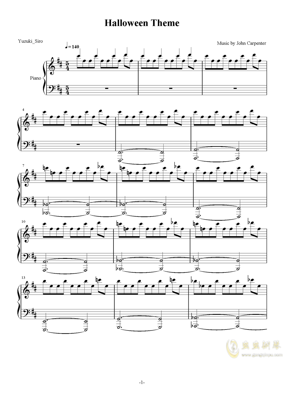 Halloween钢琴谱 第1页