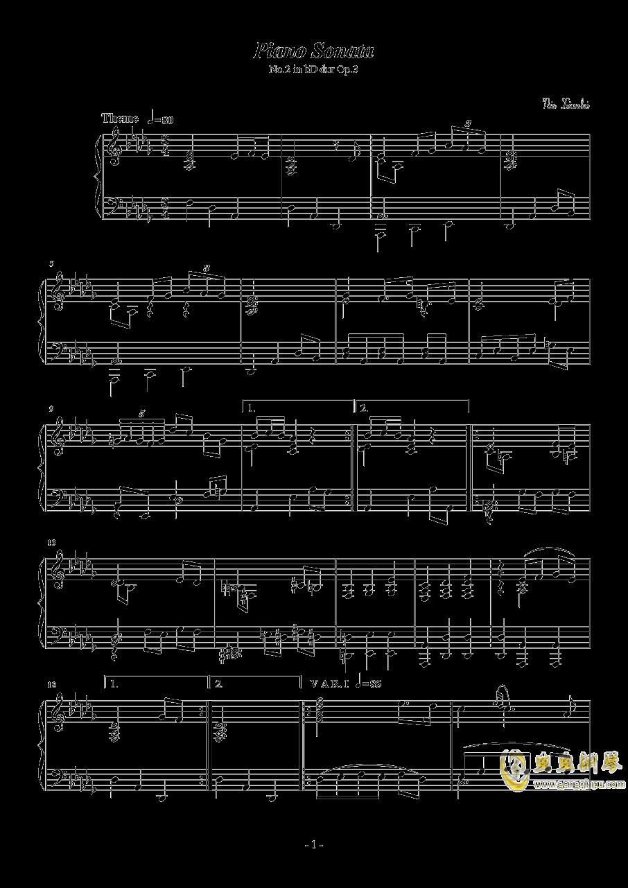 第二钢琴奏鸣曲第三乐章钢琴谱 第1页