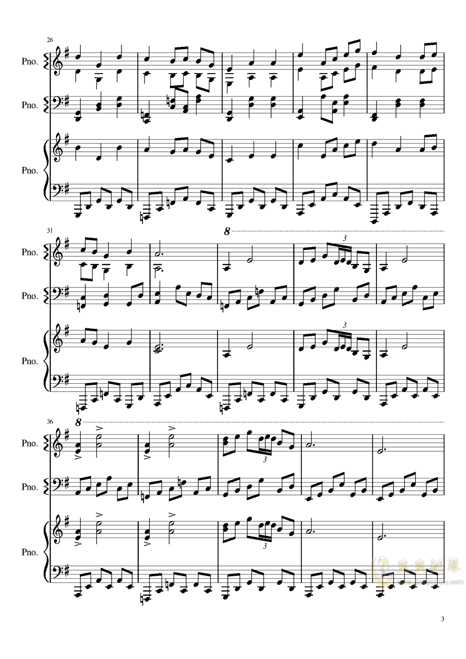妖怪之山钢琴谱 第3页