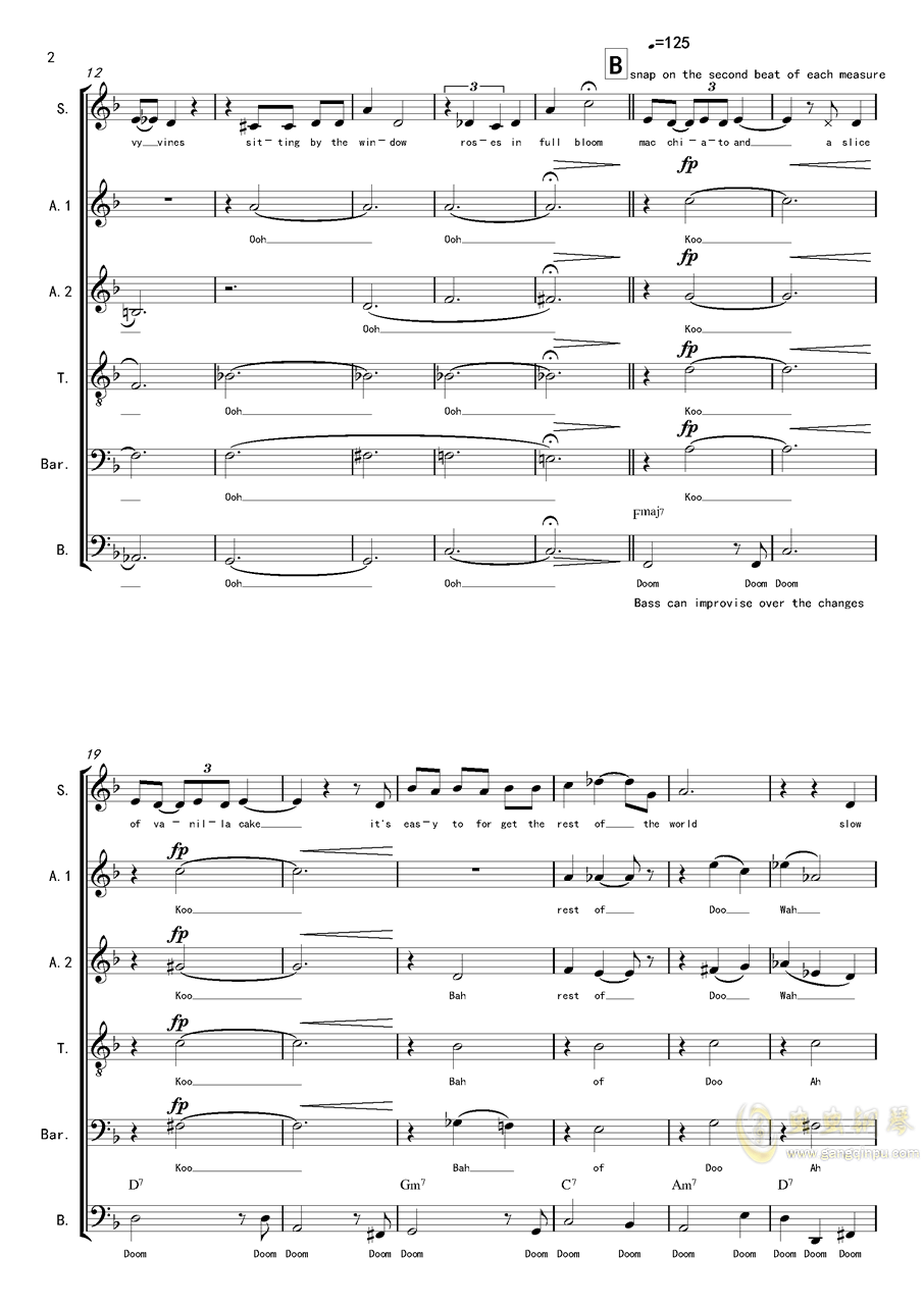 La Vanille - A cappella钢琴谱 第2页