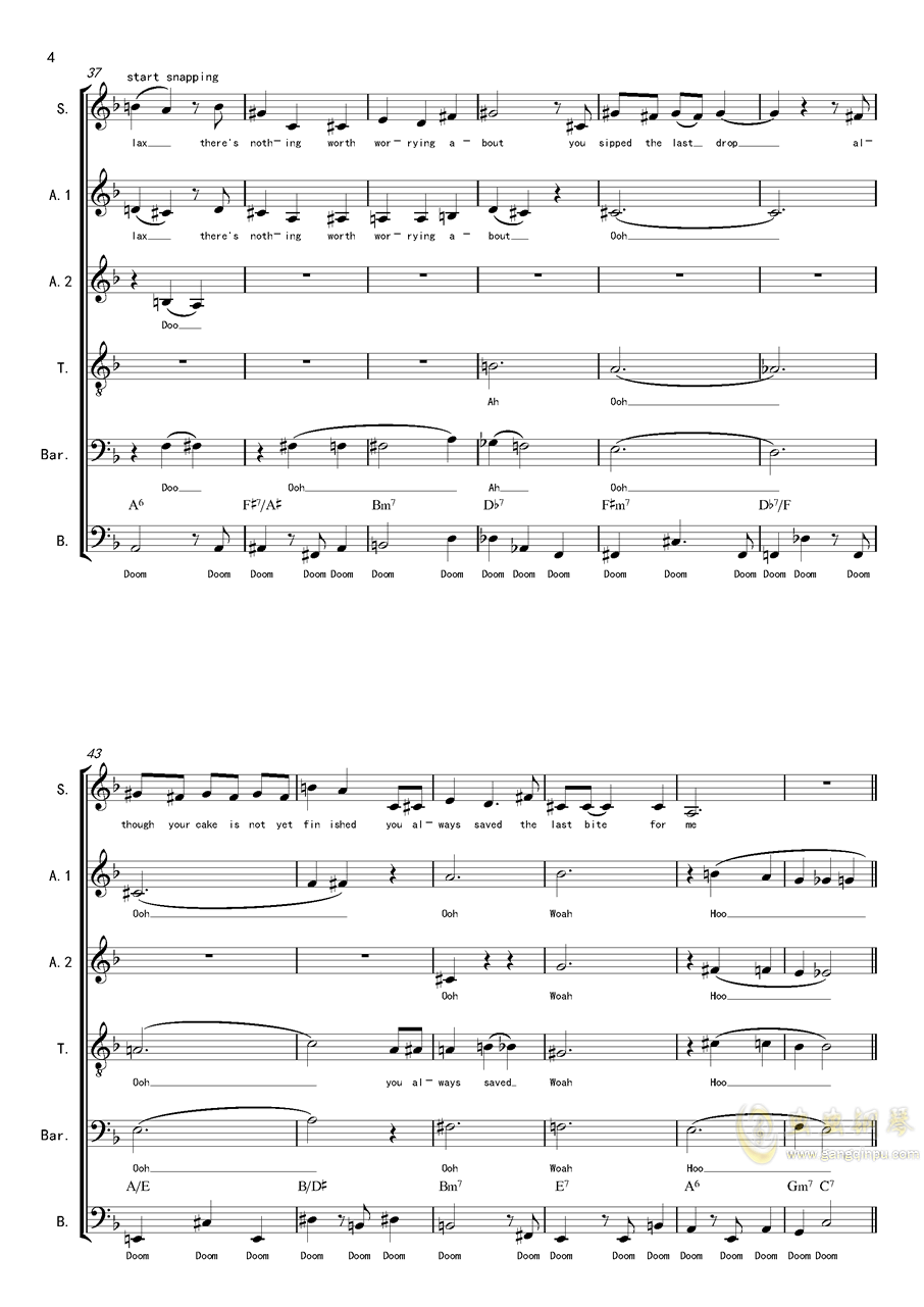 La Vanille - A cappella钢琴谱 第4页