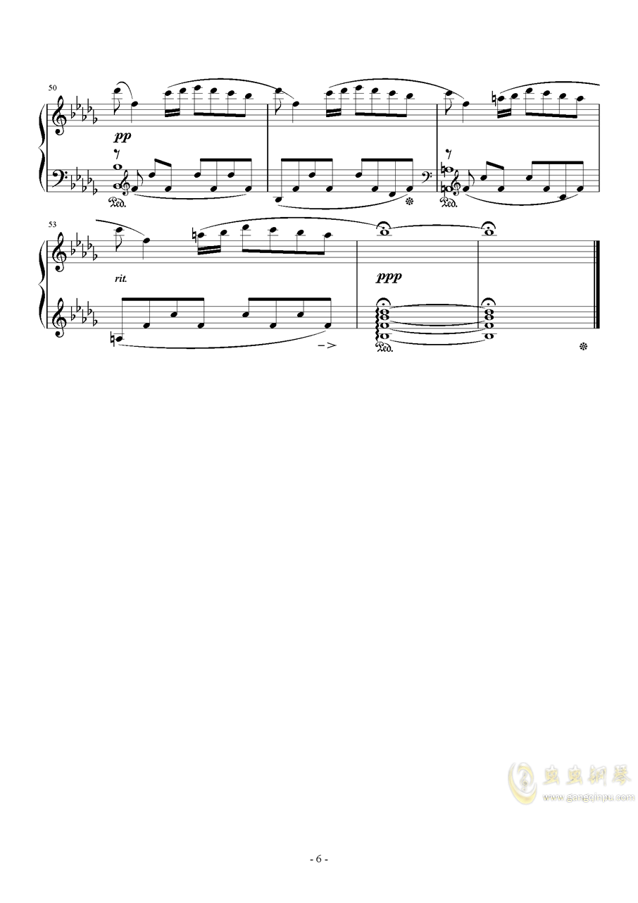 秋日私语钢琴谱 第6页
