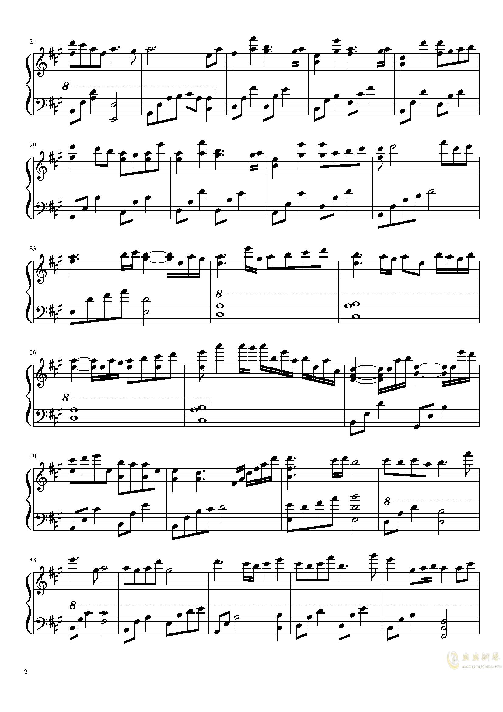 夜幕降临的思念钢琴谱 第2页