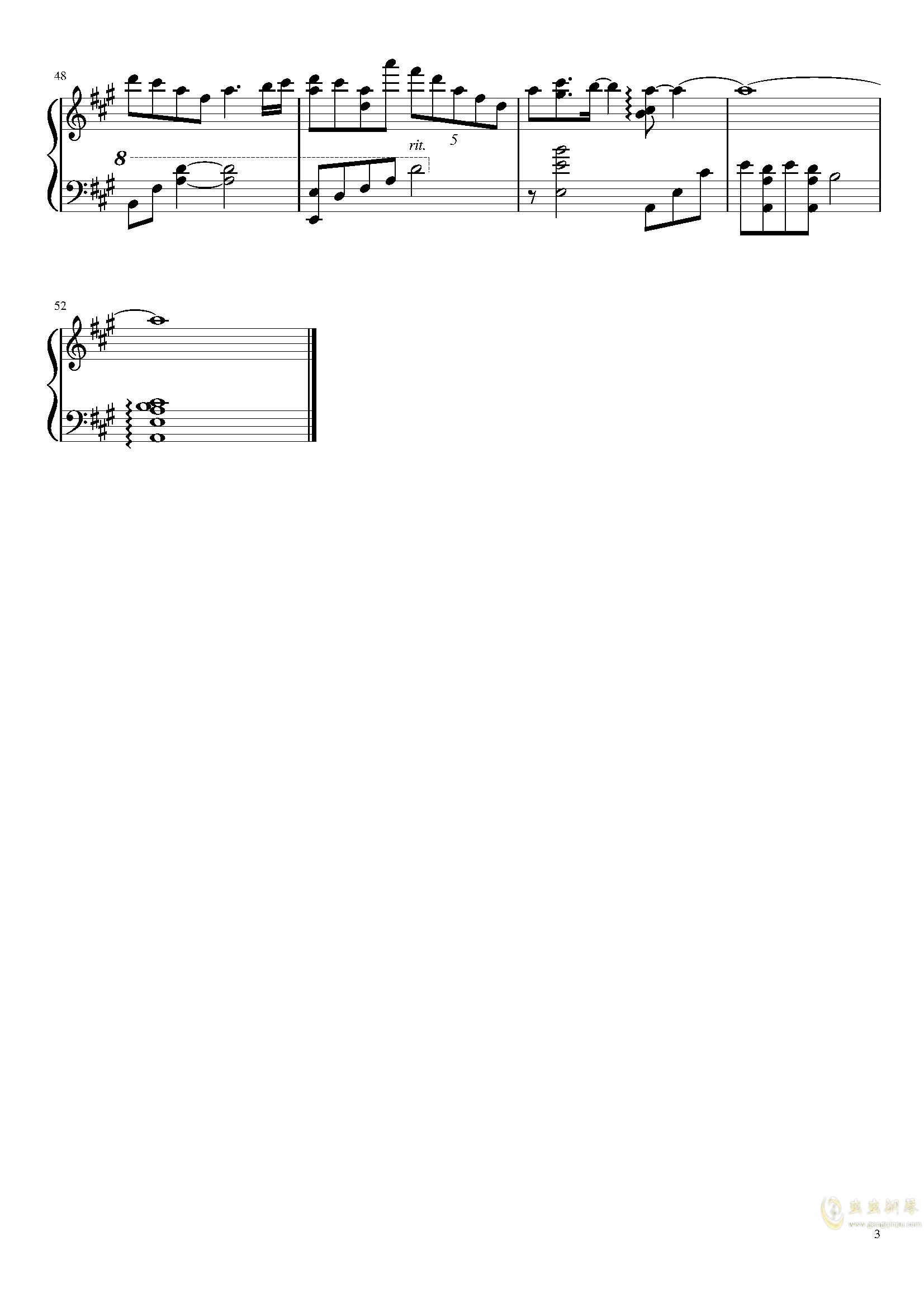 夜幕降临的思念钢琴谱 第3页