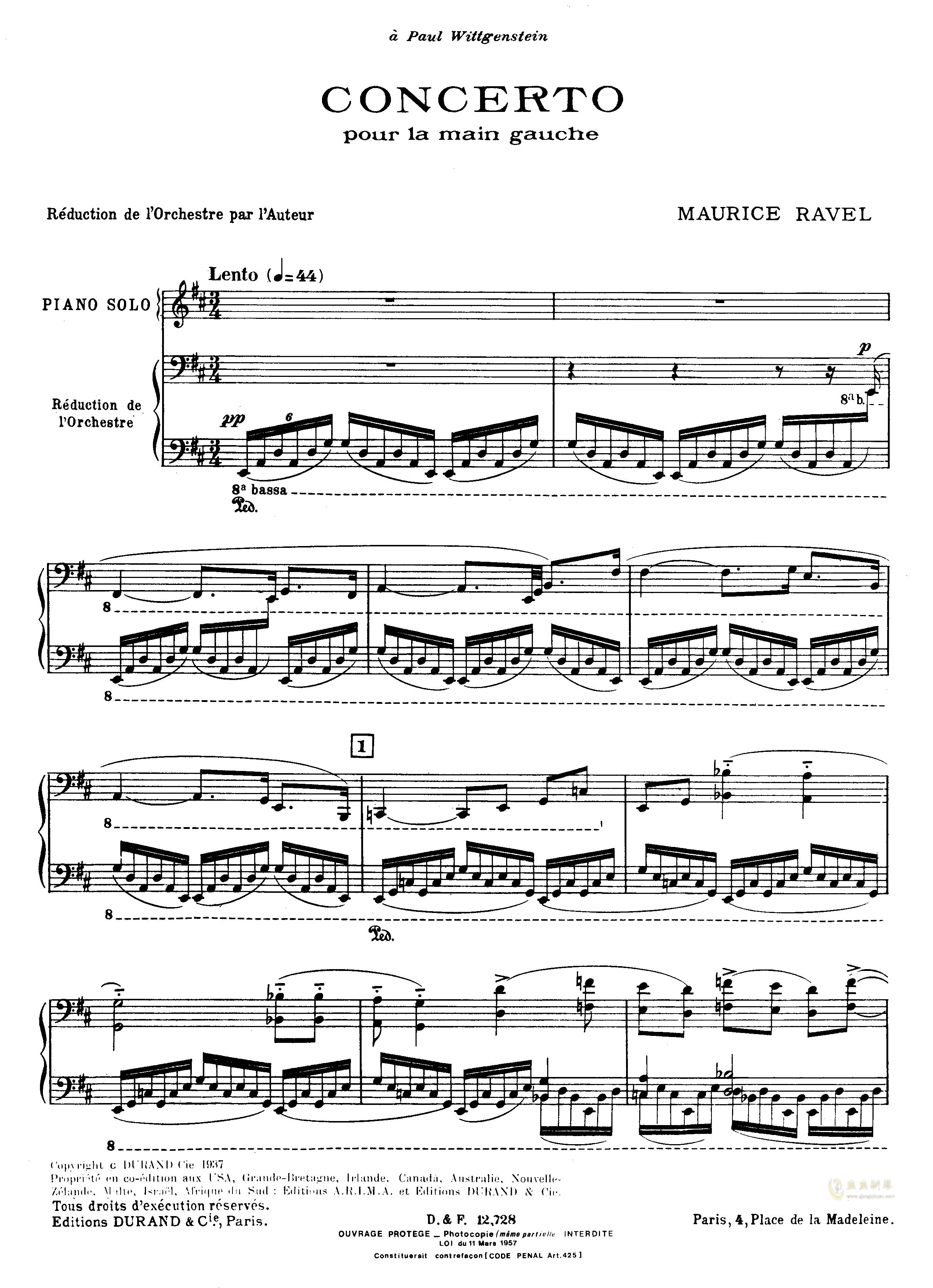 左手钢琴协奏曲钢琴谱 第1页