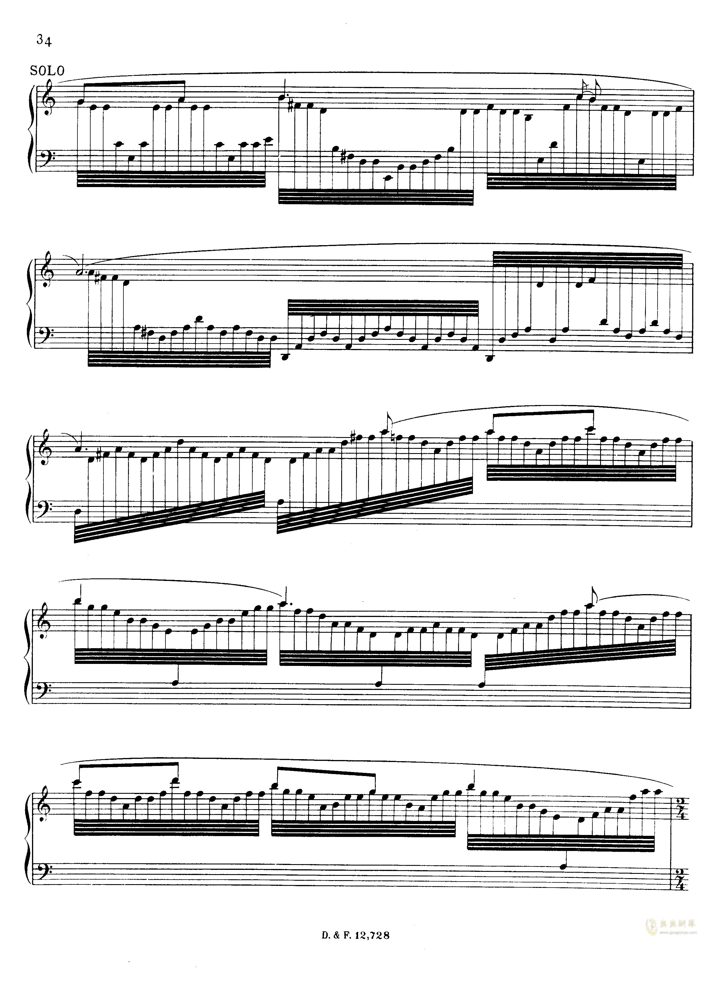 左手钢琴协奏曲钢琴谱 第34页